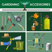 Set of vector garden tools and accessories
