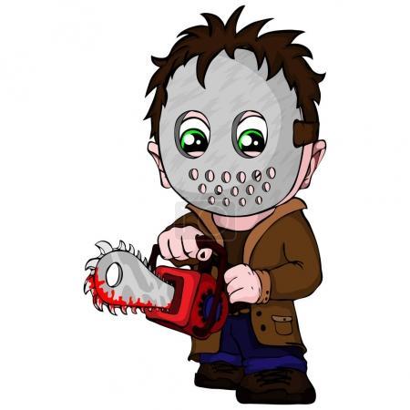 Illustration pour Vecteur tueur en série symbole avec masque, avec une scie dans les mains . - image libre de droit