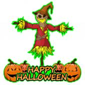 Scarecrow  wishes happy halloween on isolated white background