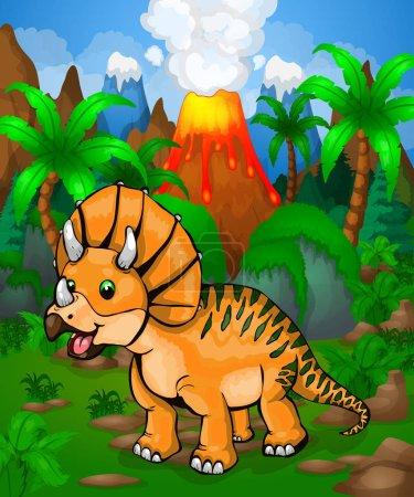 Illustration pour Mignon tricératops dessin animé. Illustration vectorielle d'un dinosaure de dessin animé . - image libre de droit