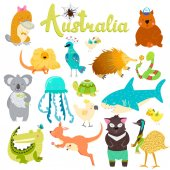 Set of stickers with Australian baby animals Spider parrot wombat lizard jellyfish shark crocodile koala kangaroo platypus turtle tasmanian devil snake birds
