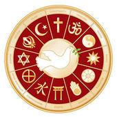 Religions of the world gold mandala wheel surrounding white Dove international symbol of Peace: Islam Christianity Hindu Taoism Baha'i Buddhism Jain Shinto Confucianism Native Spirituality Judaism Sikh Labels EPS8 compatible
