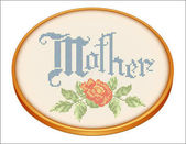 Mother Embroidery Rose Cross Stitch on Retro Wood Needlework Hoop