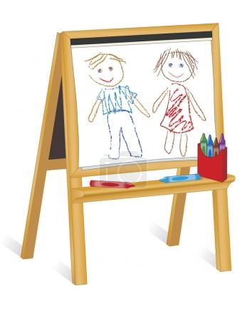 Illustration for Easel for children, crayon drawings of boy and girl, pad of paper, box of crayons, copy space.  For preschool, daycare, nursery school, kindergarten. Isolated on white background, EPS8 compatible. - Royalty Free Image
