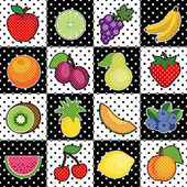 Sixteen fresh fruits in polka dot background tiles: apple lemon grapes bananas orange plums pear kiwi pineapple strawberry cantaloupe; blueberries watermelon peach lime cherry EPS8 compatible