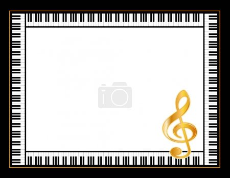 Piano Music Poster Frame, Gold Treble Clef