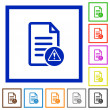 Document error flat color icons in square frames o...