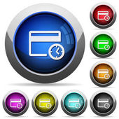 Credit card transaction history icons in round glossy buttons with steel frames