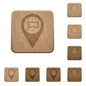 Destination GPS map location on rounded square carved wooden button styles
