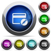 Rename credit card icons in round glossy buttons with steel frames