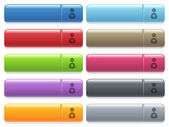 Security guard icons on color glossy rectangular menu button