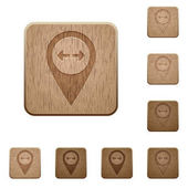 GPS map location distance on rounded square carved wooden button styles
