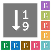 Ascending numbered list flat icons on simple color square backgrounds