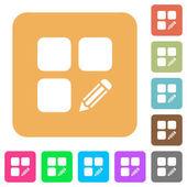Upravit součást zaoblený čtverec ploché ikony