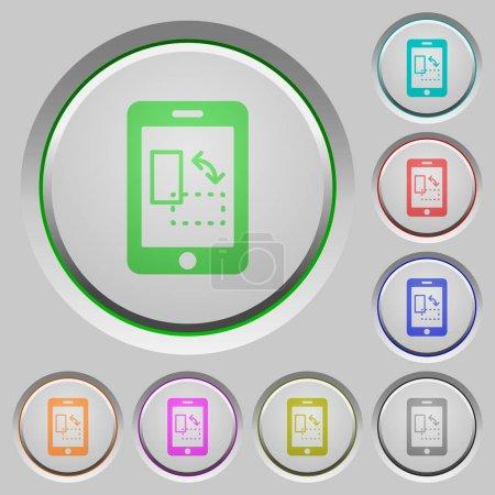 Ilustración de Gyrosensor móvil color iconos botones hundidos - Imagen libre de derechos