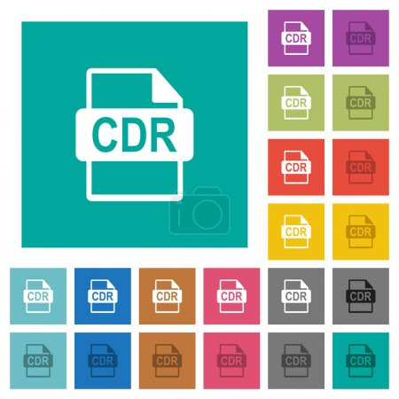 CDR file format square flat multi colored icons