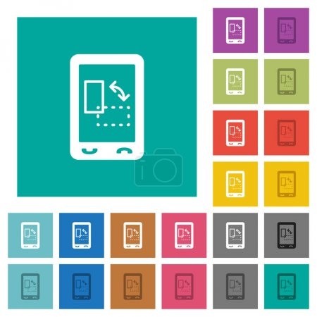 Ilustración de Gyrosensor móvil multi color planos iconos fondos cuadrados llano. Incluye variaciones de blanco y oscuro icono para suspender o efectos activos - Imagen libre de derechos