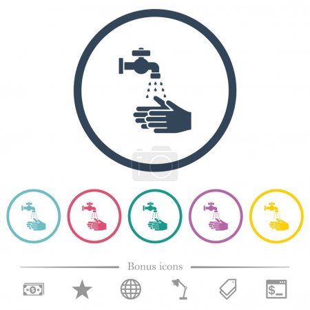 Hand washing flat color icons in round outlines. 6...