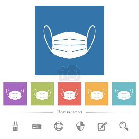 Illustration pour Masque médical plat icônes blanches dans des milieux carrés. 6 icônes bonus incluses. - image libre de droit