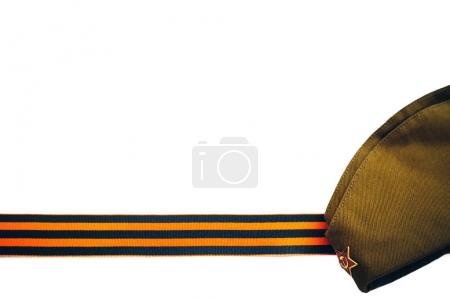 Photo for Orange and black striped ribbon symbol on May 9. the symbol of the great Victory over the Nazis, victory day, - Royalty Free Image