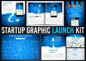 Startup Graphic Lauch Kit with Landing Webpage Corporate Design Cover to use for web promoton printed related material or company presentation Space for text
