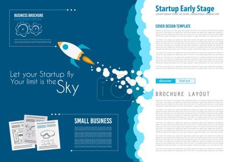 Illustration for Startup Landing Webpage or Corporate Design Cover to use for web promotion, printed related material or company presentation. Space for text. - Royalty Free Image