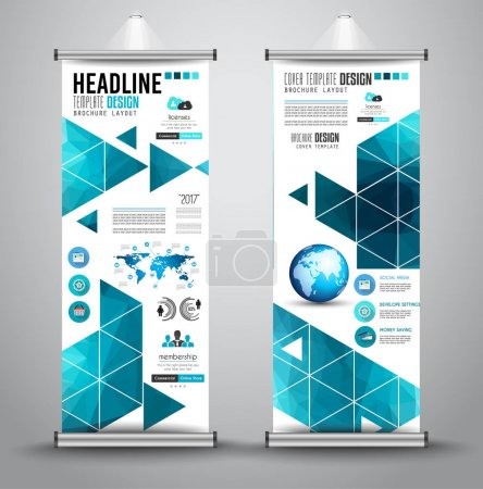 Illustration for Advertisement roll up business flyer or brochure banner with vertical design. Vector template for cover presentation with geometrical shape background. Ideal for modern x-banner and flag-banner. - Royalty Free Image