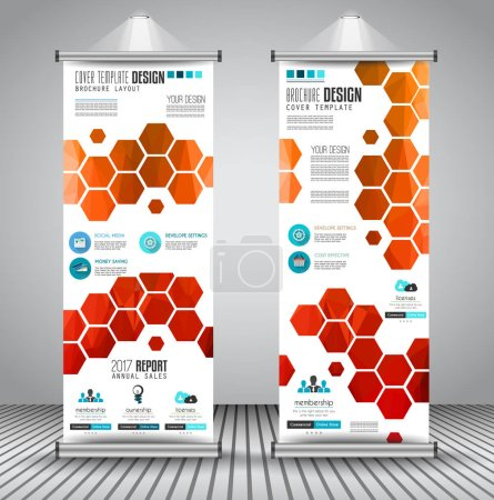 Illustration for Advertisement roll up business flyers or banners with vertical design. Vector template for cover presentation with geometrical shape background. - Royalty Free Image