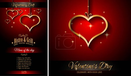 Illustration for Valentine's Day Restaurant Menu Template,  Background for Romantic Dinner Event, Party - Royalty Free Image