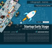 Startup Landing Page Brochure template with hand drawn sketches and a lot of infographic design elements and mockups Ideal forTeamwork  presentations