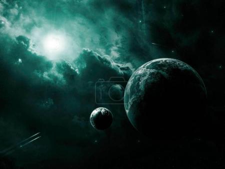 Photo pour Scène de l'espace. Nébuleuse de vert sombre avec deux planète. Éléments fournis par la Nasa - image libre de droit