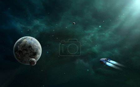 Space scene. Green nebula with planet and space ship. Elements f