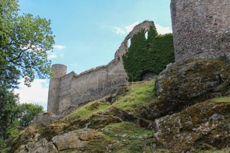 Detail to castle side tower Helfenburk. Czech landscape