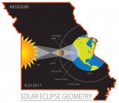 2017 Solar Eclipse Geometry Across Missouri State Map vector illustration
