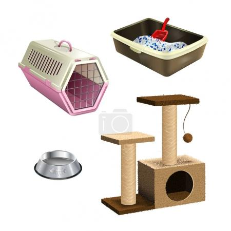 Pet shop accessories. Set of pet supplies. Isolate...