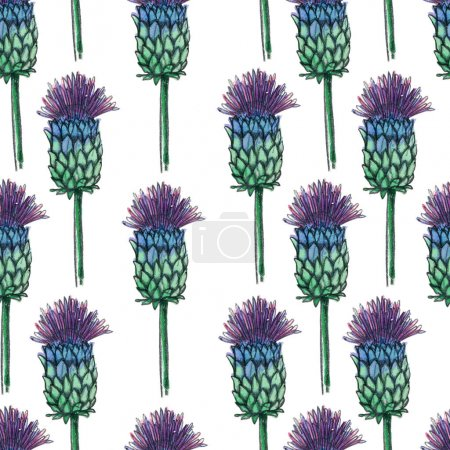 Purple flowers seamless pattern. It can be used for wrapping paper