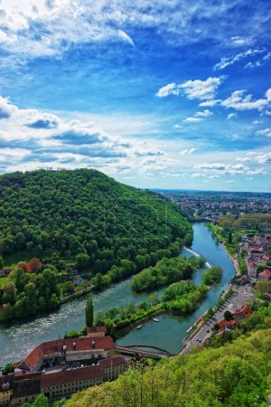 Aerial view of Besancon Bourgogne Franche Comte region France