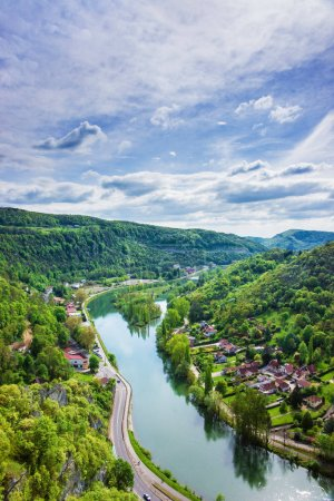 Aerial view of Besancon Bourgogne Franche Comte region in France