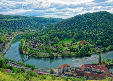 Aerial view of Besancon in Bourgogne Franche Comte region France
