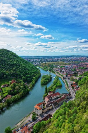 Aerial view on Besancon Bourgogne Franche Comte region in France