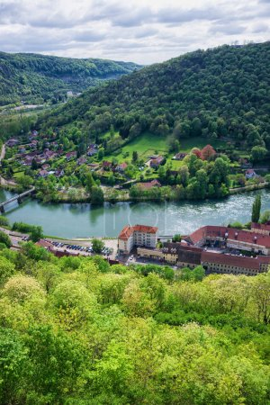 Aerial view on Besancon in Bourgogne Franche Comte region France
