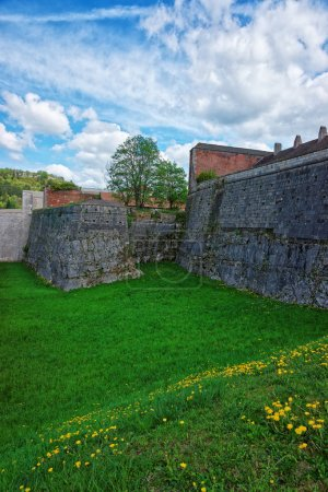 Walls of citadel in Besancon in Bourgogne Franche Comte France