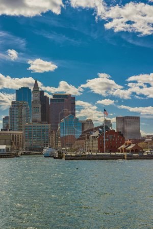 Magnificent skyline of Boston near the river
