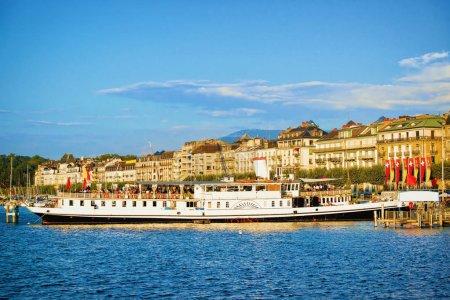Steamboat in Geneva Lake at Promenade du Lac of Switzerland