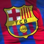 Waving fabric texture flag of FC Barcelona footbal...