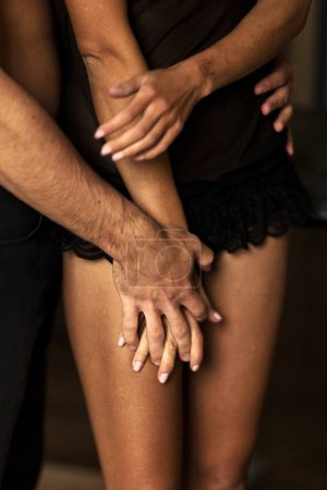 Photo for Cropped view of man holding female hand and waist - Royalty Free Image