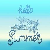 Hello summer plane sketch travel background
