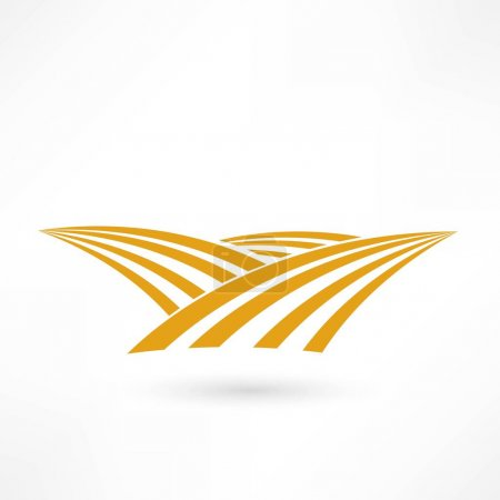Illustration for Grain field icon with hills and whet rows - Royalty Free Image