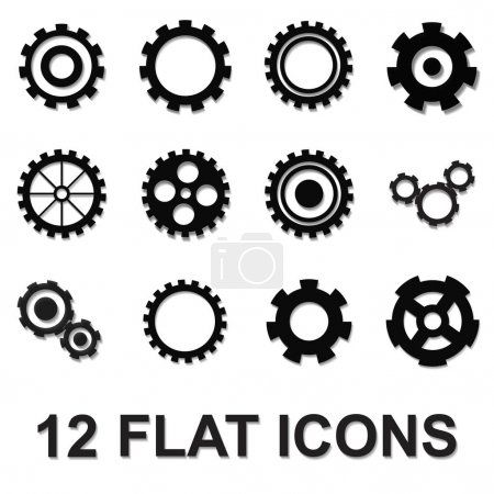 Illustration for Gear icons set, black isolated on white background - Royalty Free Image