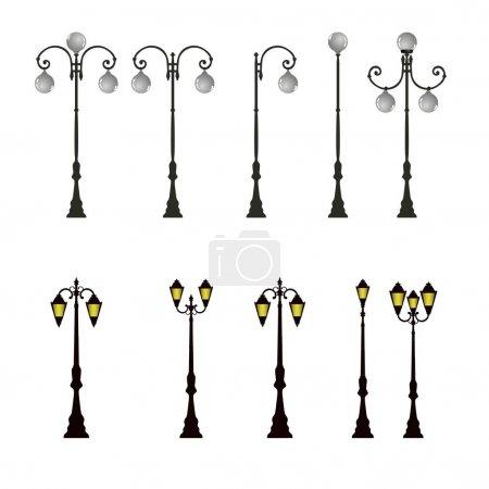 Street light icons set